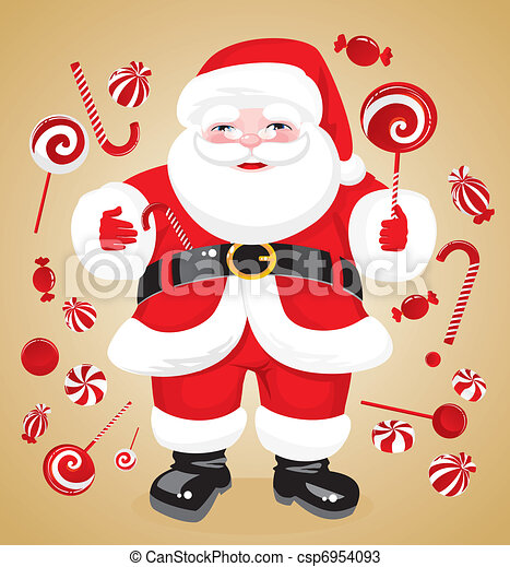 jovial Santa Claus with red sweets - csp6954093