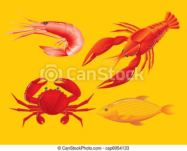 Seafood: shrimp, crawfish, crab and fish - csp6954133