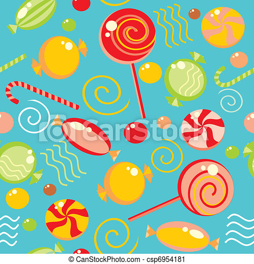 Seamless background with multi-coloured candy - csp6954181