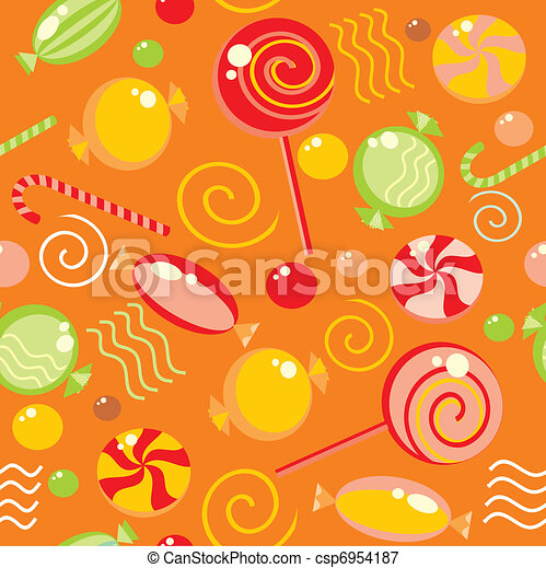 Seamless background with multi-coloured candy  - csp6954187