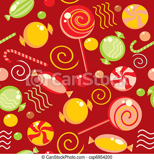 Seamless background with multi-coloured candy - csp6954200