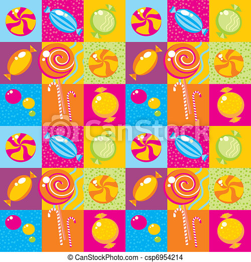 Seamless background with multi-coloured candy  - csp6954214