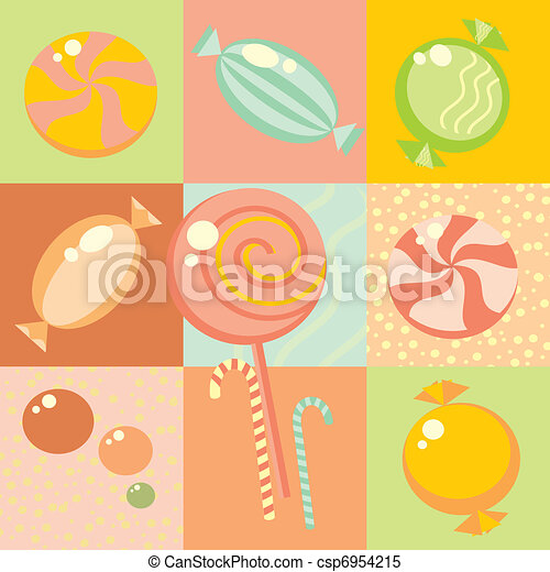 Seamless background with multi-coloured candy  - csp6954215