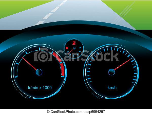 Vektoren Illustration von Geschwindigkeitsmesser, wasserwaage ...   {Armaturenbrett auto 25}