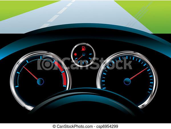 dashboard car - tachometer, speedometer and fuel level sensor - csp6954299