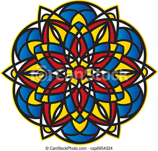 spiky bright abstract symmetrical pattern - Stained Glass  - csp6954324