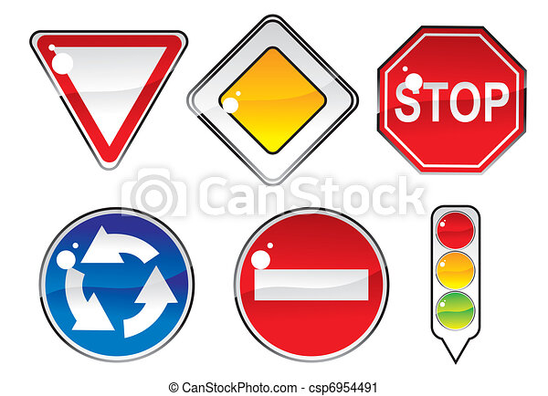 signs priority to regulate the order of roundabouts - csp6954491