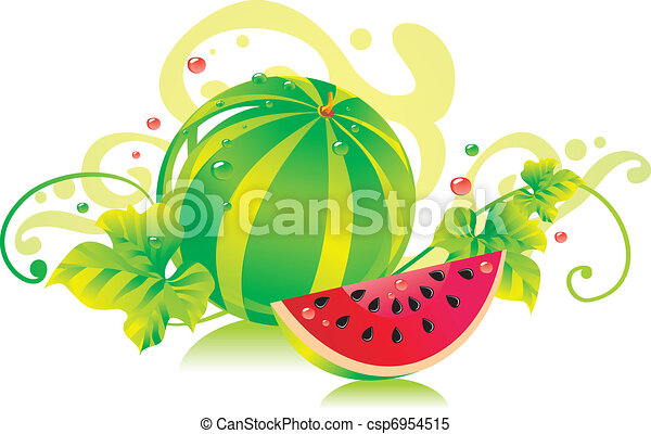 Watermelon with a water-melon slice and leaves  - csp6954515