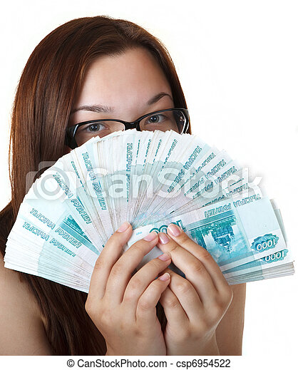 Thoughtful Girl with a Fan thousands of denominations. - csp6954522