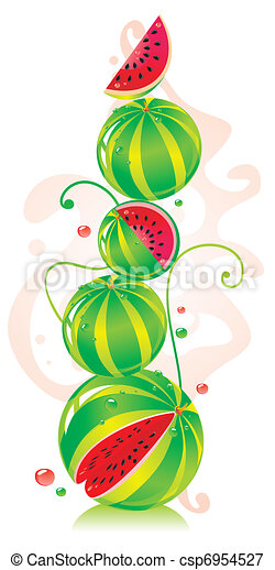 Hill from water-melons in different kinds  - csp6954527