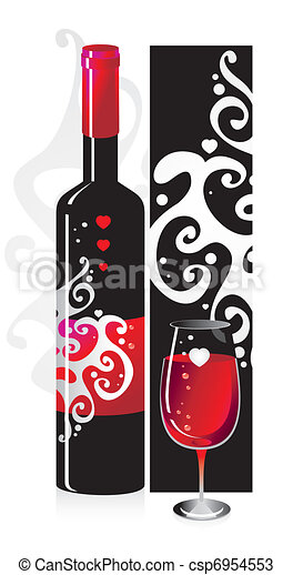 Composition from a bottle and a glass with red wine with a pattern and heart symbols - csp6954553