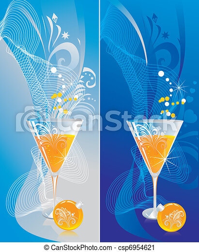 Glass with champagne and a fur-tree sphere on a celebratory background - csp6954621
