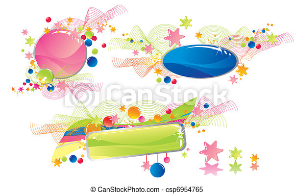 Celebratory colour decoration frame - csp6954765