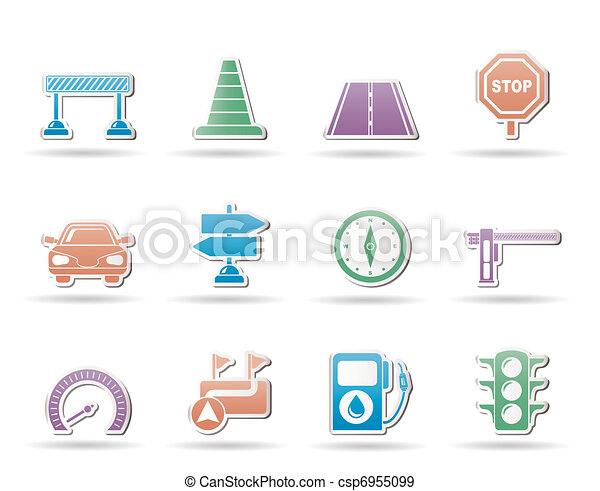 Road, navigation and traffic  icons - csp6955099