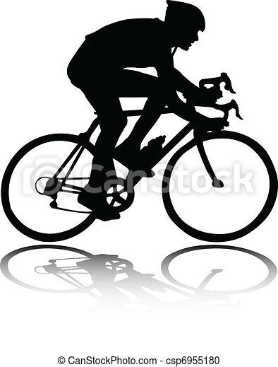 Clipart vecteur de silhouette cycliste bicyclist - Cycliste dessin ...
