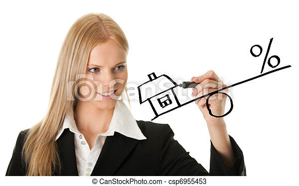 Businesswoman drawing a mortgage illustration - csp6955453