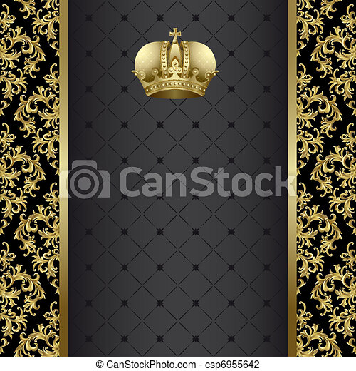 Black and gold background  - csp6955642