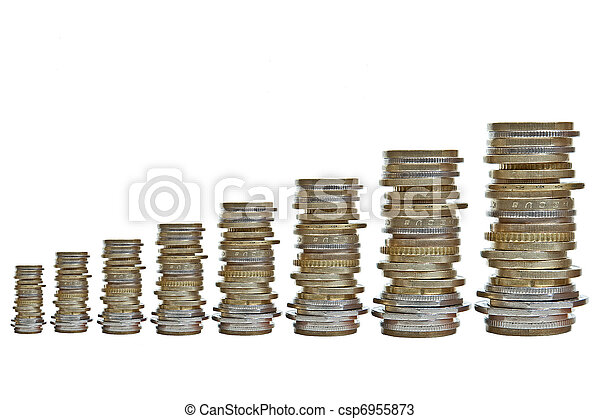 growing piles of various coins - csp6955873
