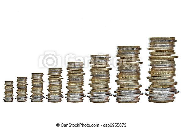 growing piles of various coins - csp6955873