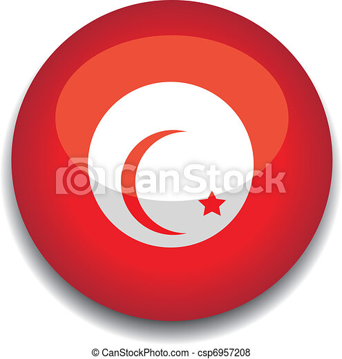 tunisia button flag - csp6957208
