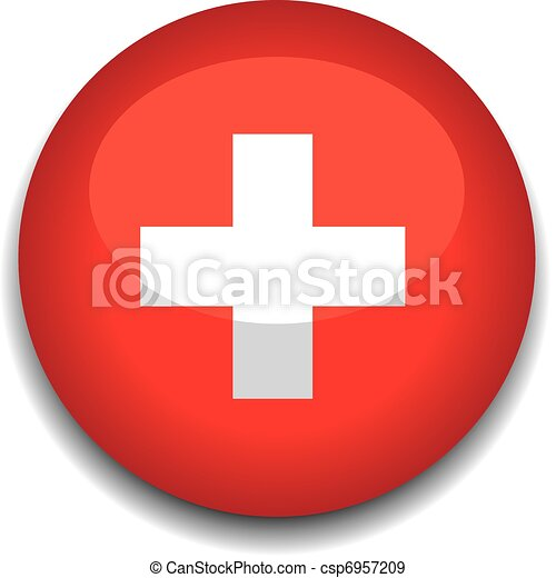switzerland button flag - csp6957209