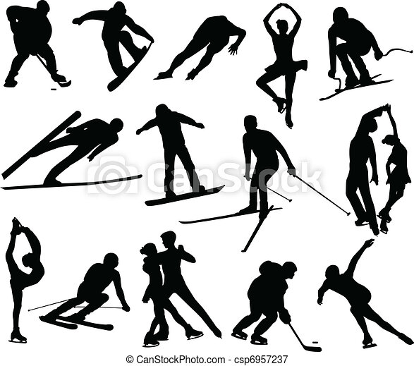 vectors illustration of winter sports silhouettes vector skier clipart black and white skies clip art