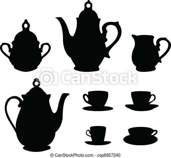 Tea or coffee set silhouettes - csp6957240