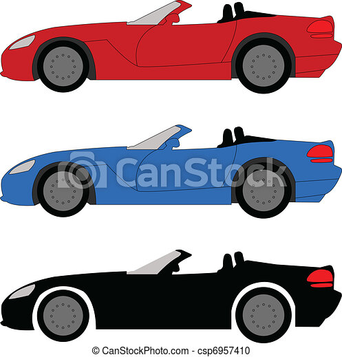Sport Cars on Sports Car   Vector Illustration