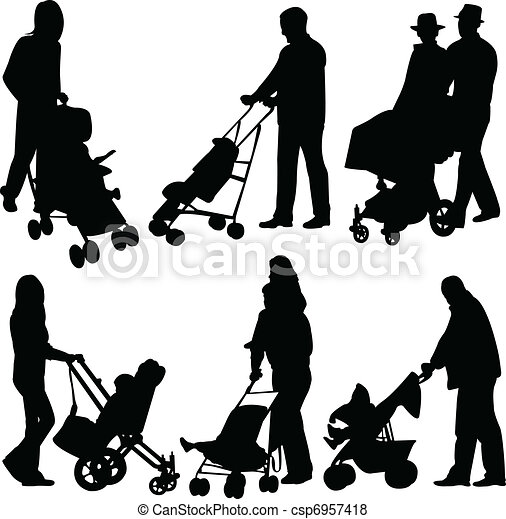 People with babies in stroller - csp6957418