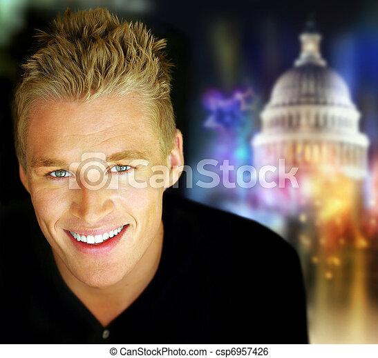 Happy man in politics - csp6957426
