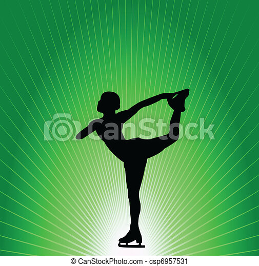 Figure skater on green background - csp6957531