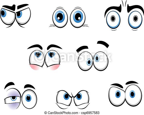 Vectores de divertido, ojos, caricatura - Conjunto, de, caricatura ...