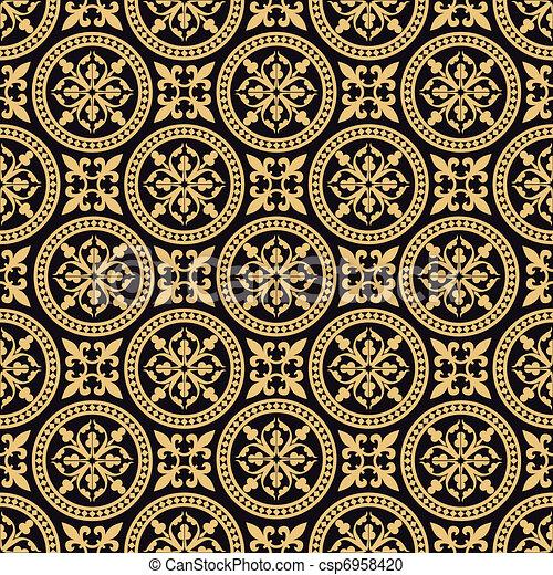vektor clipart von antikes muster orientalische seamless orientalische csp6958420. Black Bedroom Furniture Sets. Home Design Ideas