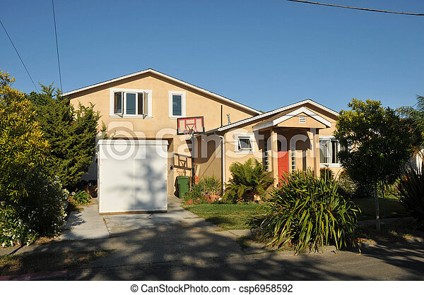 Single family house one story with driveway - csp6958592