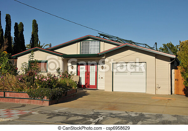 Single family house one story with driveway - csp6958629
