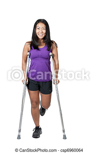 Asian Woman on Crutches - csp6960064