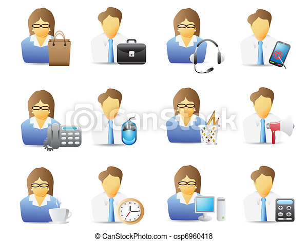 icons of office workers with office tools - csp6960418
