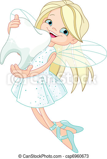 Cute Tooth Fairy flying with Tooth - csp6960673