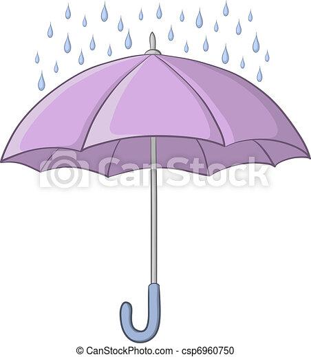Vector Clipart of Umbrella and rain - Vector, lilac umbrella and ...