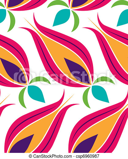 Ottoman Tulip Seamsless Pattern - csp6960987