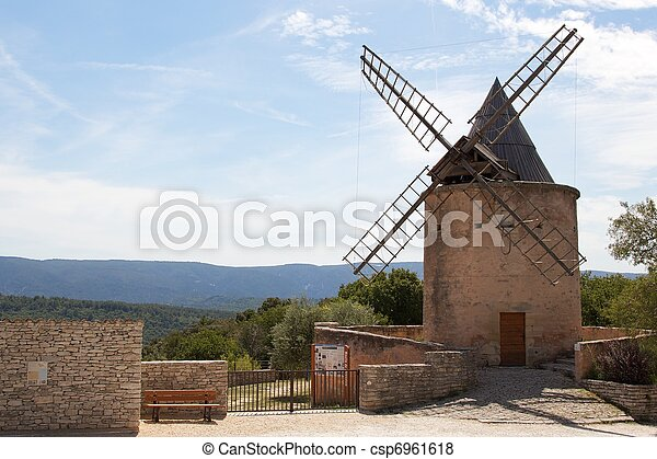 Hilltop windmill in Provence - csp6961618