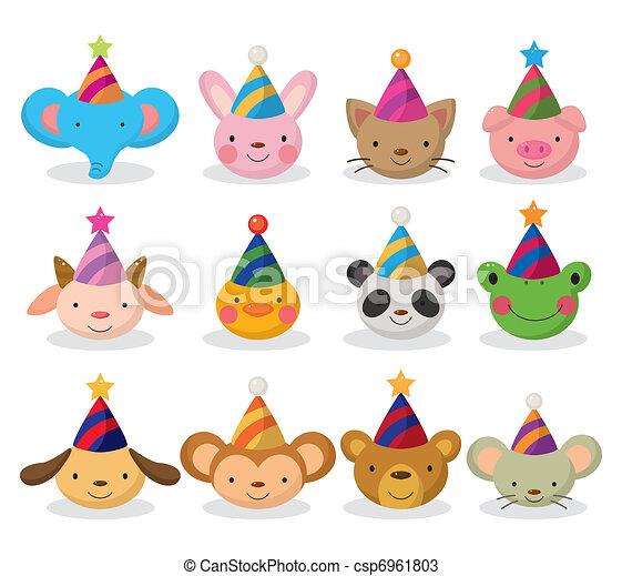 cartoon party animal head icon set - csp6961803