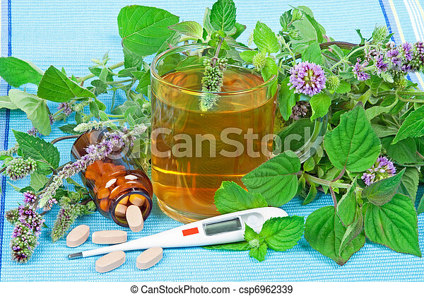 Herbal tea with sage and mentha and organic pills - csp6962339