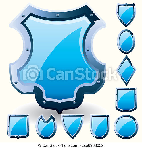 Set of security shield, coat of arms symbol icon, blue, vector illustration - csp6963052