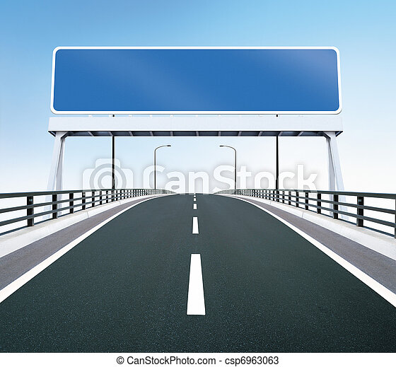 Bridge highway with blank sign - csp6963063