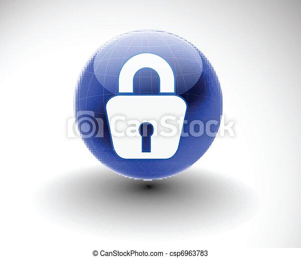 3d glossy lock icon - csp6963783