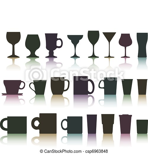 set of cups, mugs and glasses - csp6963848