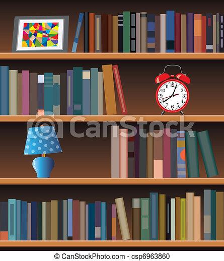 Vector Clipart Of Modern Bookshelf Vector Modern