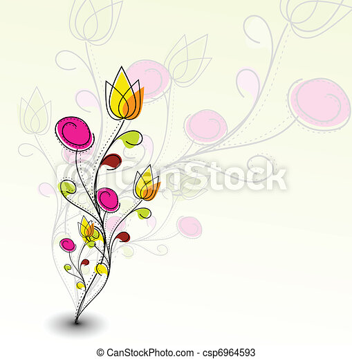 Abstract colorful spring flower pattern - csp6964593