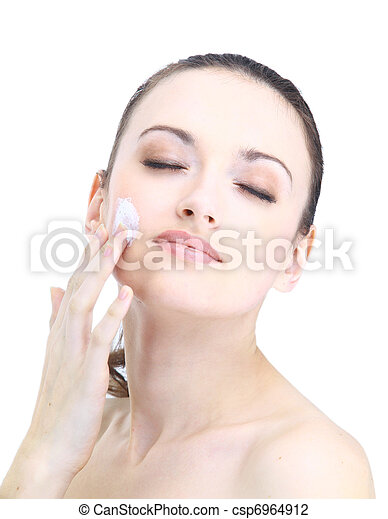 Portrait of young adult woman with health skin of face - csp6964912